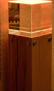 Lampe Massivholz mit Glas
